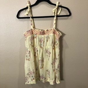 Free People Yellow Floral Top